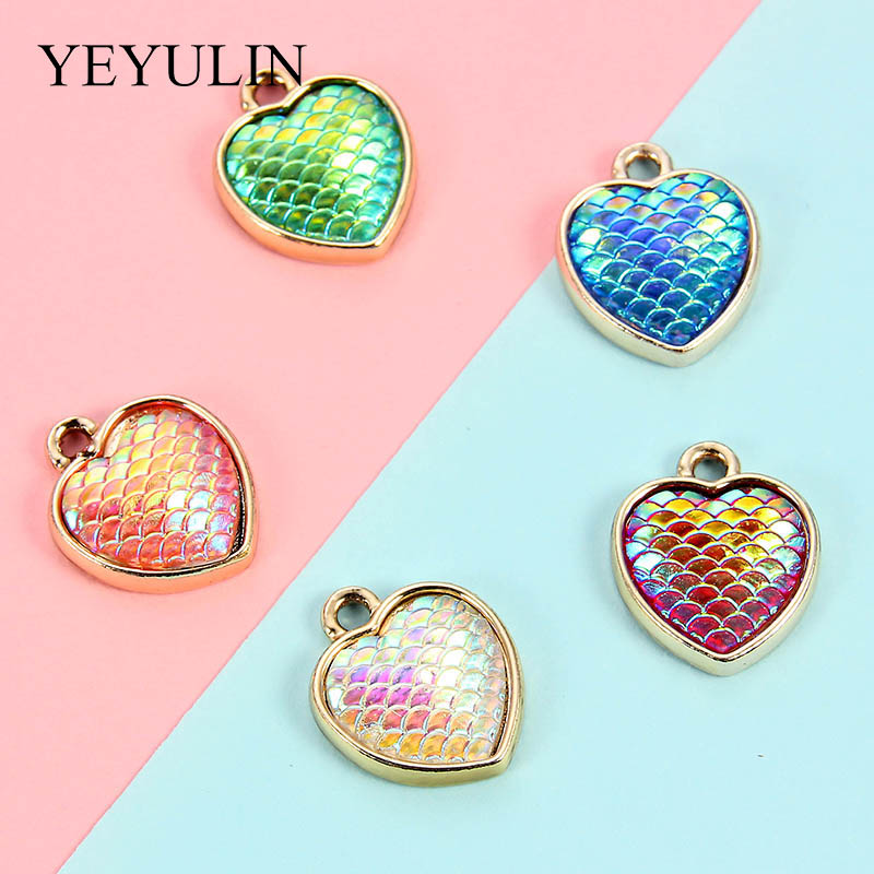10Pc Boy Girl Heart Shape Alloy Charm Pendant DIY Necklace Bracelet Making Gift
