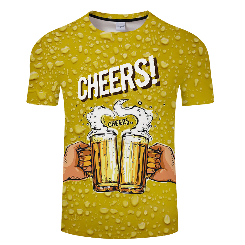 2019 new cool summer beer printed T-shirt novelty short sleeve T-shirt top men's neutral top quality casual suspender T-shirt