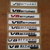 V8 V12 BITURBO for AMG Stickers Car Trunk Rear Letters Fender Sides Badge Emblem Emblems Badges For Mercedes Amg Benz TURBO AMG