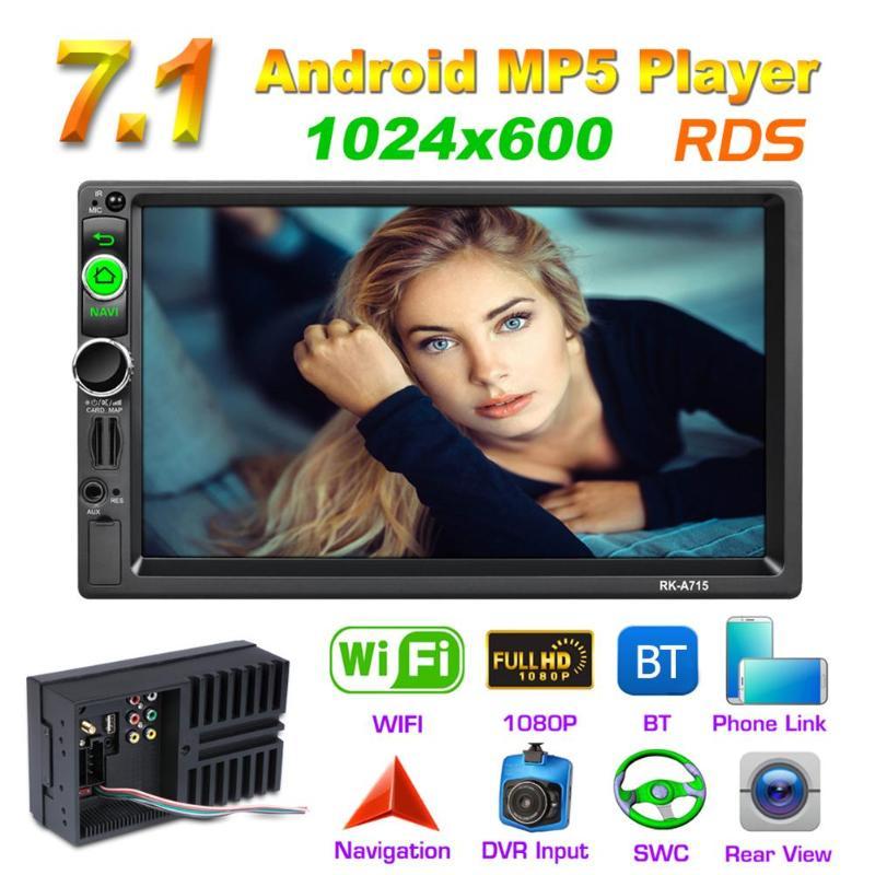 VODOOL 7 Pouces Voiture Écran Tactile Lecteur Multimédia Quad Core Android 7.1 Voiture Stéréo MP5 Lecteur GPS Navi RDS AM FM Radio BT WiFi