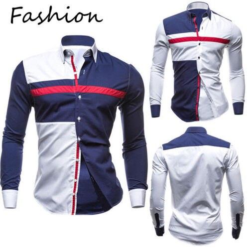 2019 New Fashion Mens Casual Shirts Slim Fit Long Sleeve Casual  Shirts Tops Hot New