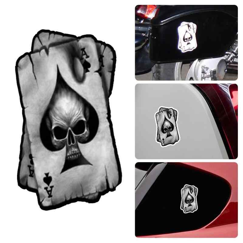 VODOOL Car Glue Sticker 13*7.7cm Ace of Skull Spades Reflective Personalized Auto Motorcycle Decal Car Body Fashion Stickers