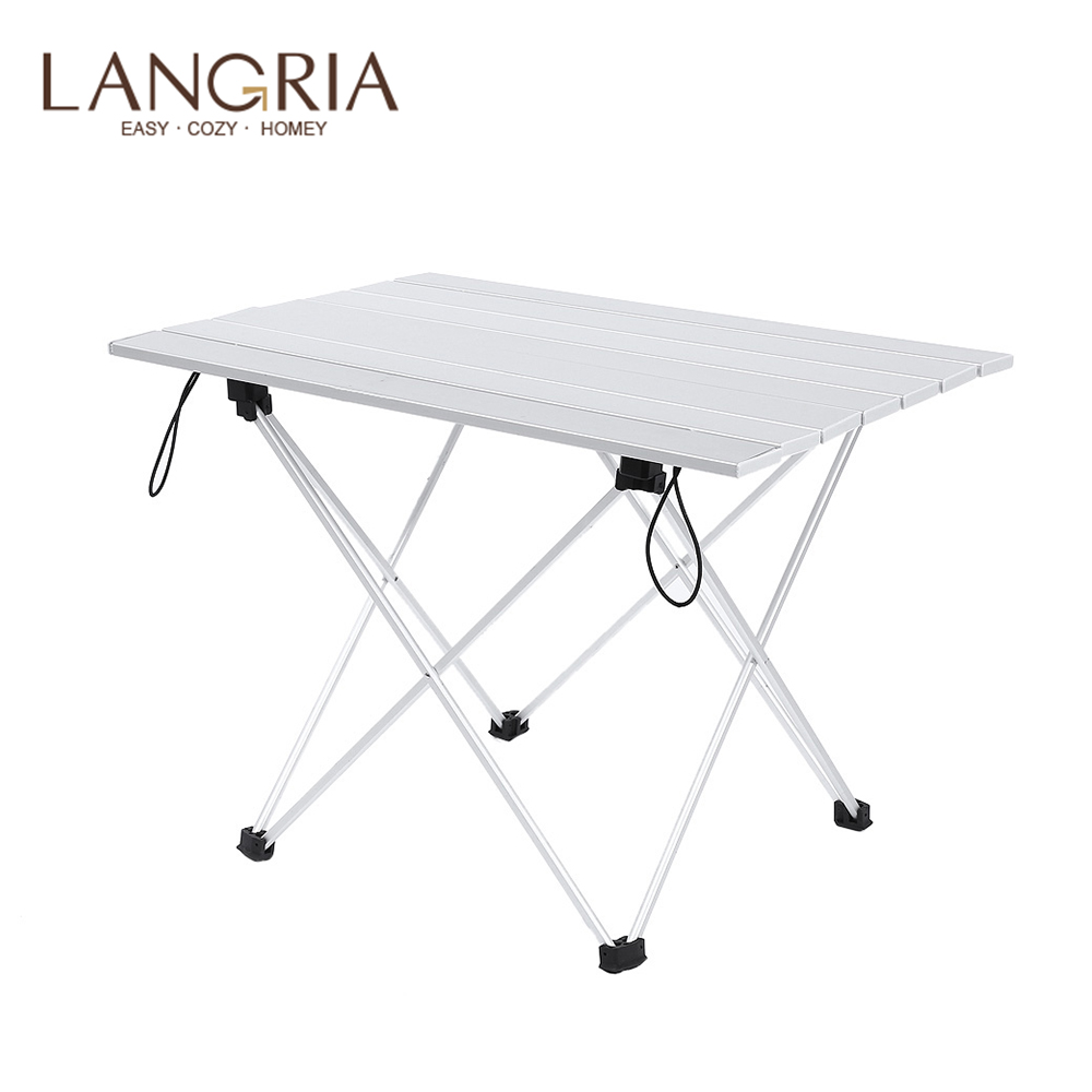 LANGRIA Aluminum Alloy Folding Table Portable Foldable Table With Anti-slip Desk High Quality Outdoor Camping Accessory 2 Sizes