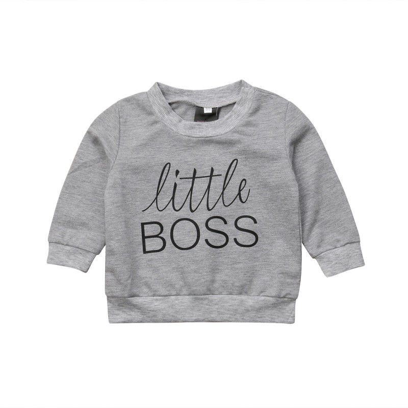 Toddler Kids Baby Boy Girl Clothes Letter Print Cool Pullover Tops Sweatshirt US
