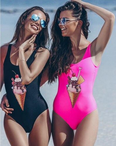 2018 Caldo Delle Donne Di Un Pezzo Di Ghiaccio-crema Di Stampa Della Fasciatura Del Bikini Push Up Monokini Costume Da Bagno Costume Da Bagno Di Estate Di Vacanza Costumi Da Bagno Beachwear Pacchetti Alla Moda E Attraenti