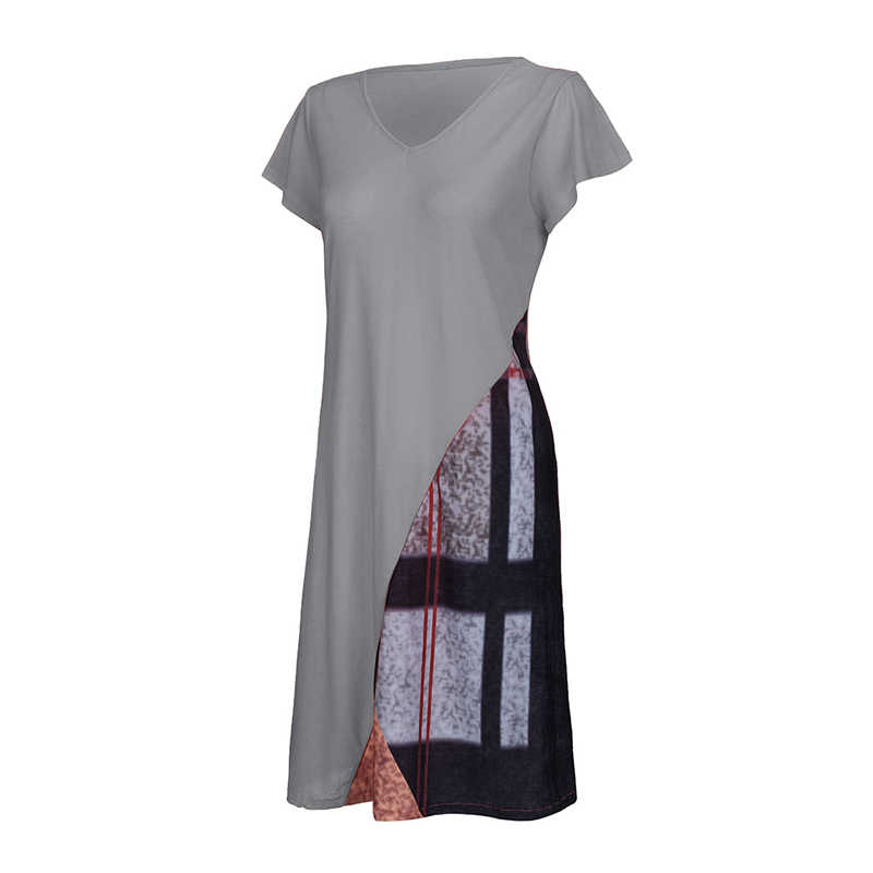 Plus Size Women Summer V-neck Short Sleeve Dress Patchwork Loose Long Tunic Tops