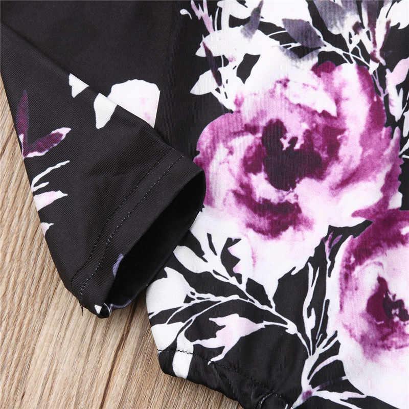 Одежда для новорожденных девочек; комбинезон; черный комбинезон с цветочным принтом и длинными рукавами; летняя Милая модная одежда