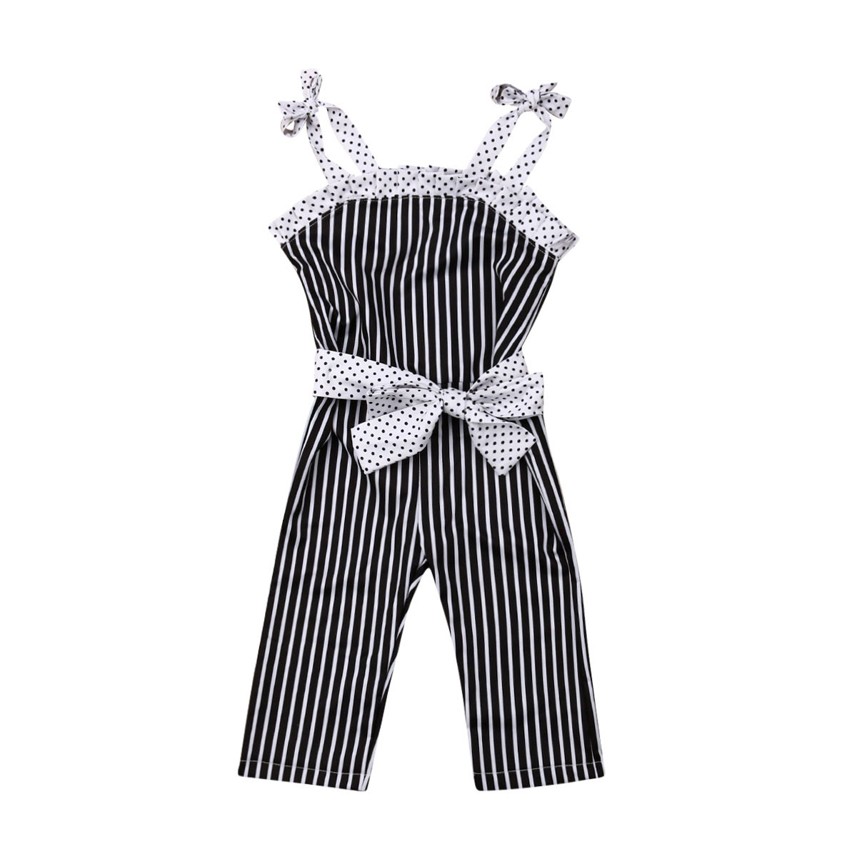 2019 New Toddler Kid Baby Girls   Romper   Striped Sleeveless Jumpsuit Girls Clothing Bow Overalls Summer