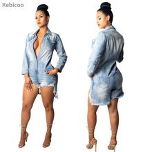 Ripped Shirt Denim Playsuits Women Spring Casual Long Sleeve Elegant Short Jumpsuit Loose Fashion Jumpsuit Rompers