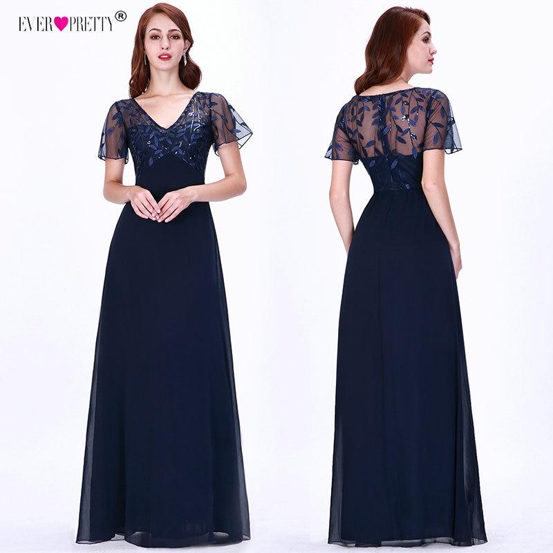 Evening Dresses Long Ever Pretty EZ07706 Elegant Navy Blue A-line Short  Sleeve Chiffon Lace 2539bc51b8e2