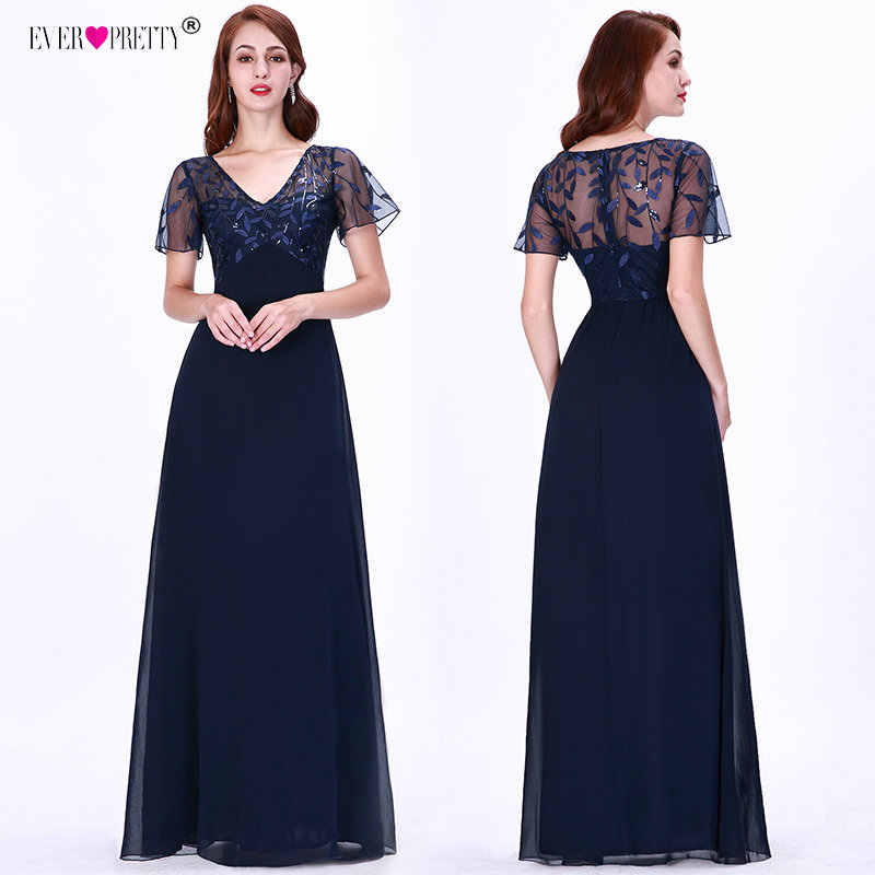 Evening Dresses Long Ever Pretty EZ07706 Elegant Navy Blue A-line Short Sleeve  Chiffon Lace ecfcf9d7e61b