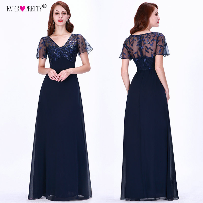 Evening     Dresses   Long Ever Pretty EZ07706 Elegant Navy Blue A-line Short Sleeve Chiffon Lace Embroidery Party Gowns for Wedding