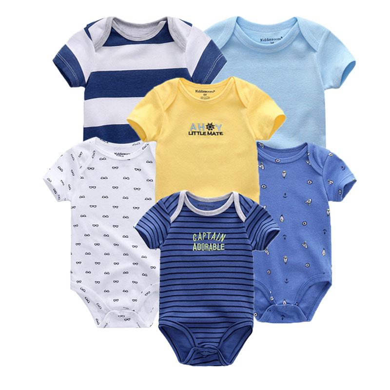 2021 6PCS/Set Unisex Newborn Baby Boy Clothes Unicorn Cotton Baby Girl Clothes Cartoon Girls Baby Clothing Jumpsuits Bodysuits 3