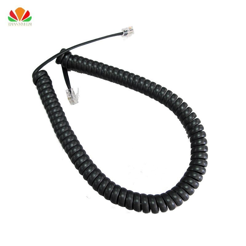 Black 9 Ft Phone Handset Cord Curly Coil Receiver Telephone Cable Office 4P4C