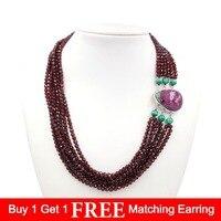 LiiJi Unique Natural Shining Garnet,Malachite,Rubys and Zoisite 925 Sterling Silver Drop shape Pendant Clasp Big Necklace