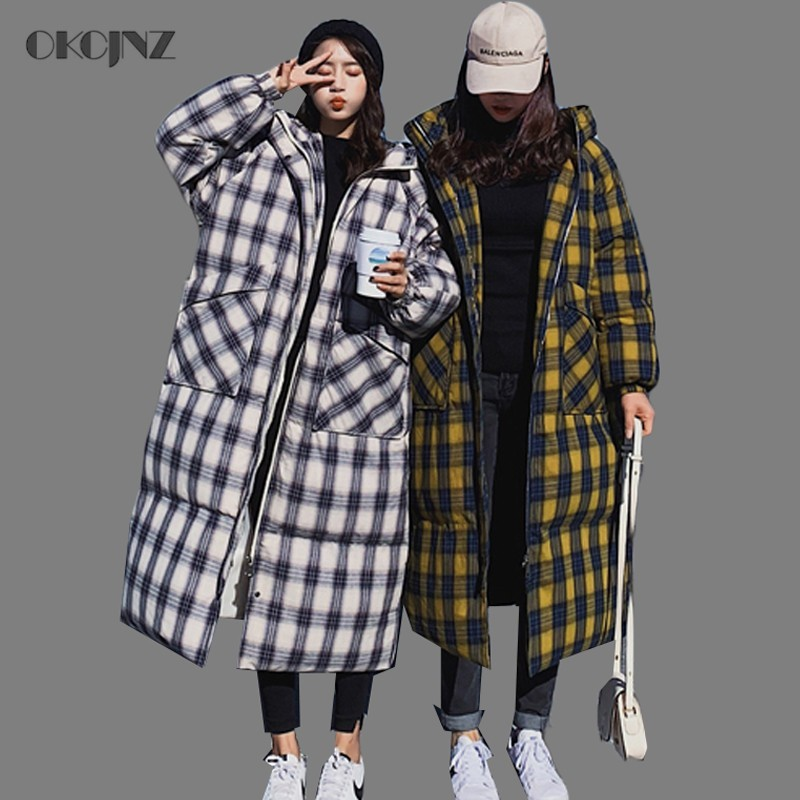 Plus Size Winter Jacket Woman Overcoat Slim Plaid Hooded Parka Female Quilted Coat Casual Long Thick Warm Cotton Outwear Okq099