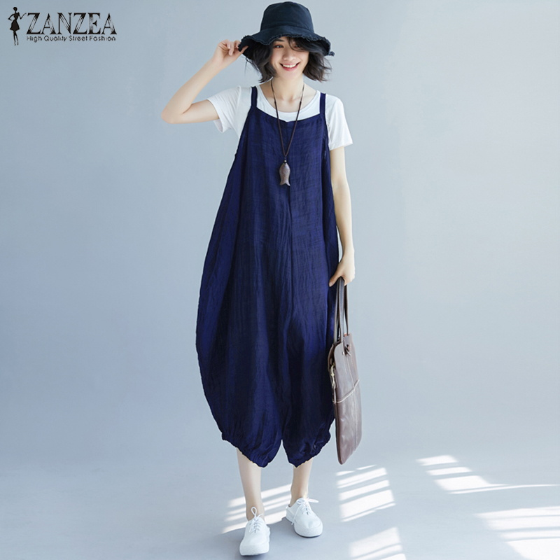 2019 ZANZEA Strappy Long Lantern Summer Women Party Wide Leg Pants Jumpsuits Solid Drop-Crotch Rompers Dungarees Overalls Femme