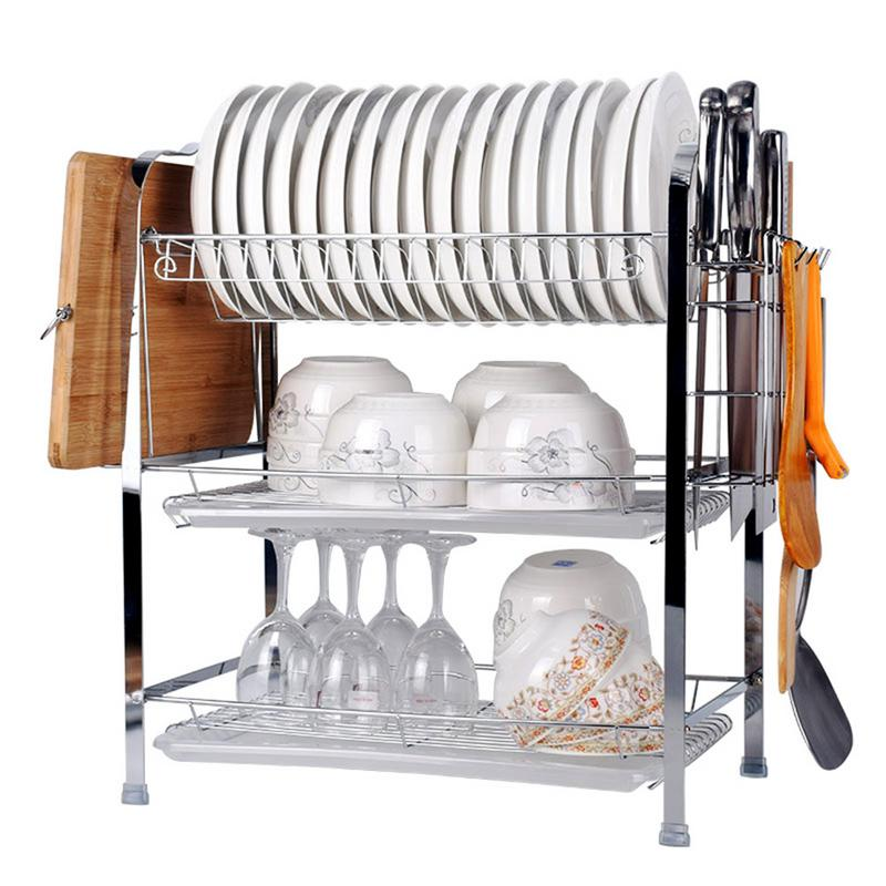 Multifunctional Storage Rack Dish Drying Rack 3 Tier Chrome Dish Drainer Rack Kitchen Storage Gadget Cutlery Cup Dish Organizer