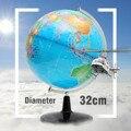 32 cm grande rotativa globo mapa do mundo de geografia da terra escola ferramenta educacional ornamento de escritório em casa presente