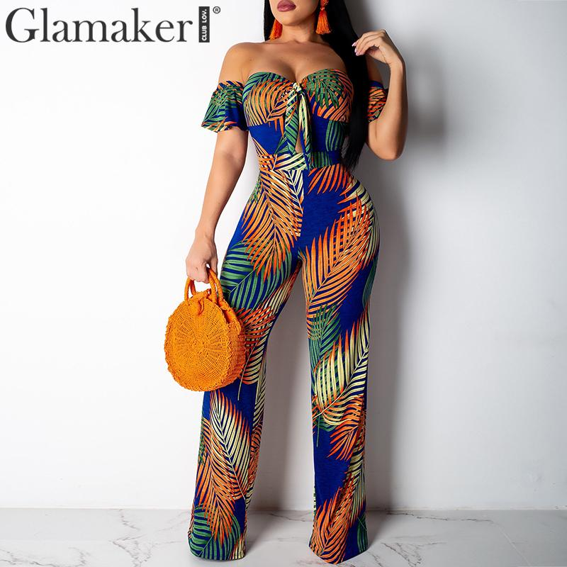 Glamaker Ruffle tube off shoulder sexy jumpsuit long wide leg Leaf print overalls women jumpsuit   romper   summer jumpsuit macacao