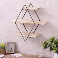 1 pc Storage Rack Wooden Wrought Iron Hanging Rhomboid Wall mounted Shelf Organizer for Bedroom Living Room Office