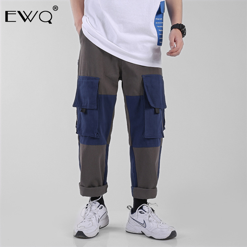 Enthusiastic Ewq Men Vintage Cargo All-match Pants 2019 Spring Mens Streetwear Straight Pants Male Overalls Joggers Ankle-length Pants Hd889 Cargo Pants Pants