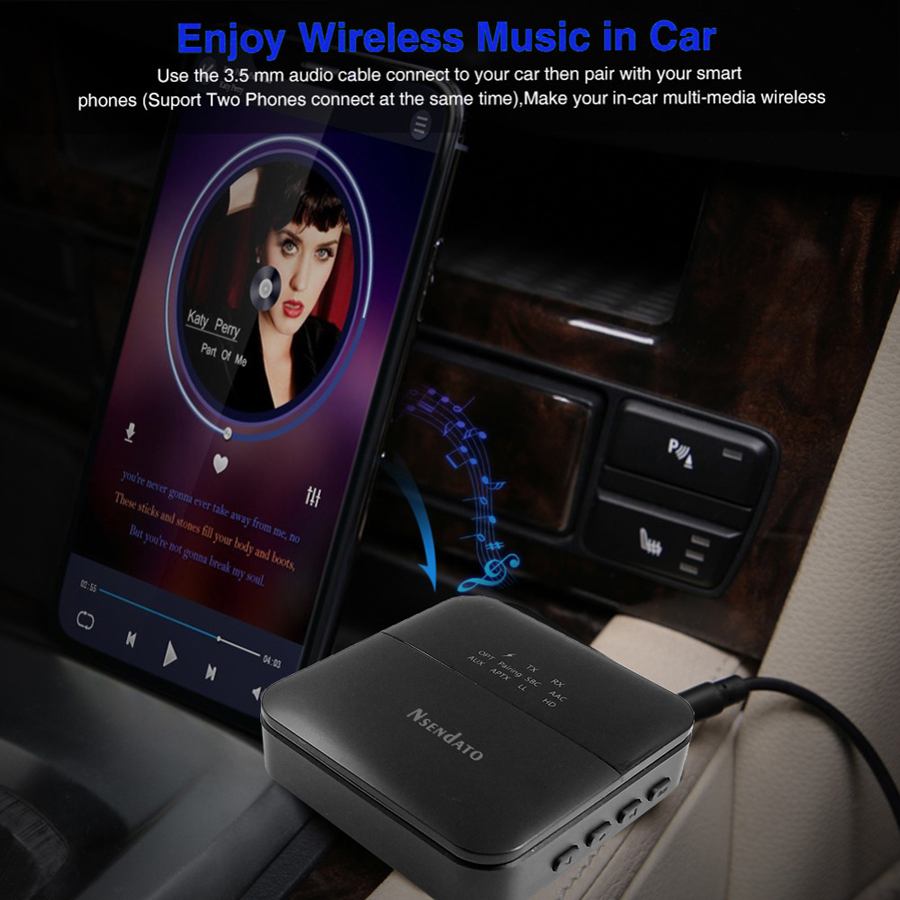 cheapest 3 5mm HD Bluetooth 5 0 Audio transmitter receiver CSR8675 Wireless aptx audio Auto on Adapter for tv car aptX HD LL Low Latency
