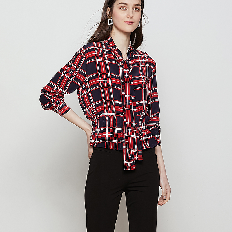 Blusa Blusas Crepe Oficina 2019 Real Manga Dama Larga Rojo Red Plaid Primavera Las Mujeres De Cuadros 100 Seda Impreso SHq8CA5xwC
