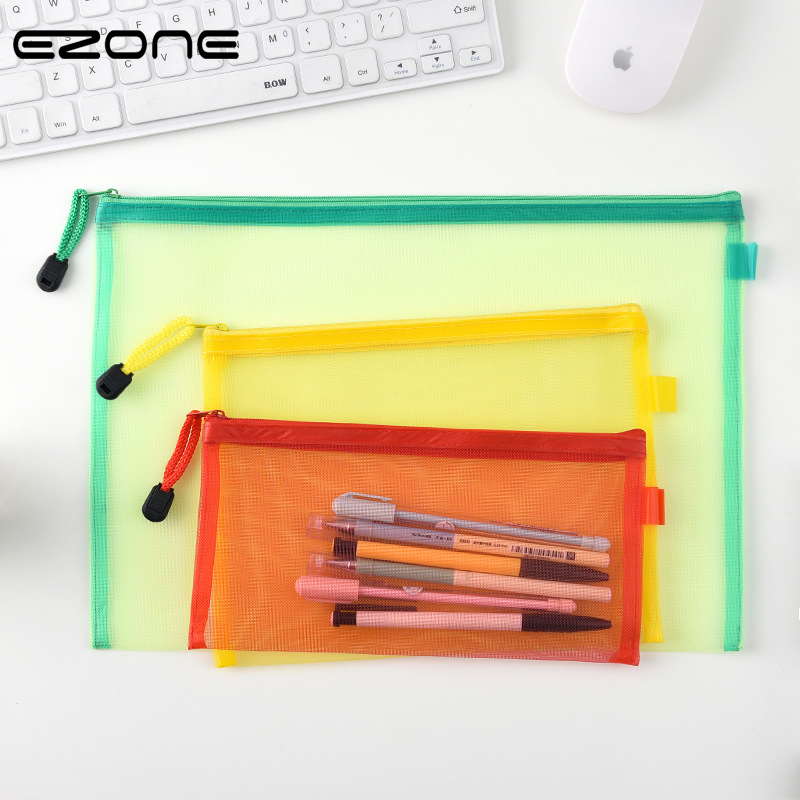 EZONE Candy Color File Bag A4/A5/A6 Transparent Nylon Yarn Document Bag Zipper Portable Folder Pencil Bag Office Stationery