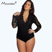 Missomo Plus Size Women Long Sleeve Costumes Sexy Streetwear Overall Lace Bodysuit Top Body Transparent Playsuit Shorts Jumpsuit