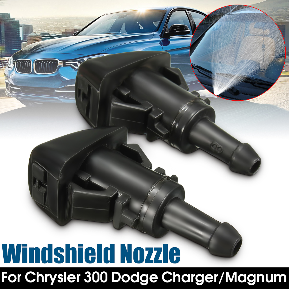 2016 Brand New 2x Windshield Water Sprayer Wash Washer Nozzle Wipers For Chrysler 300 for Dodge/ Magnum Charger image