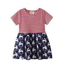 Summer princess dress stripe baby clothes toddler girl dresses Solid cotton Printing Lovely outfit girl dress costume kids