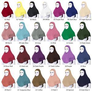 Image 2 - 2 pçs chapéu de oração muçulmano feminino sob lenço hijab niquabs lenço islâmico turbante macio ninja cor sólida médio oriente chapéu 76*68 cm