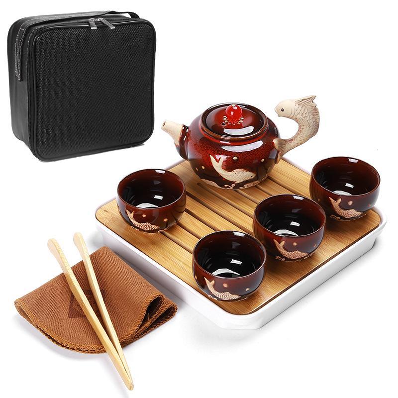 Chine thé Kung Fu Set Portable tasses à thé en céramique Caddies à thé bambou plateau à thé chinois cérémonie de thé Set cadeau pour ami - 3