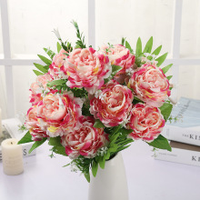 Simulated Flowers 12 Heads Holding Peony Home Decoration Plants Wedding Fake and Valentines Day Gifts