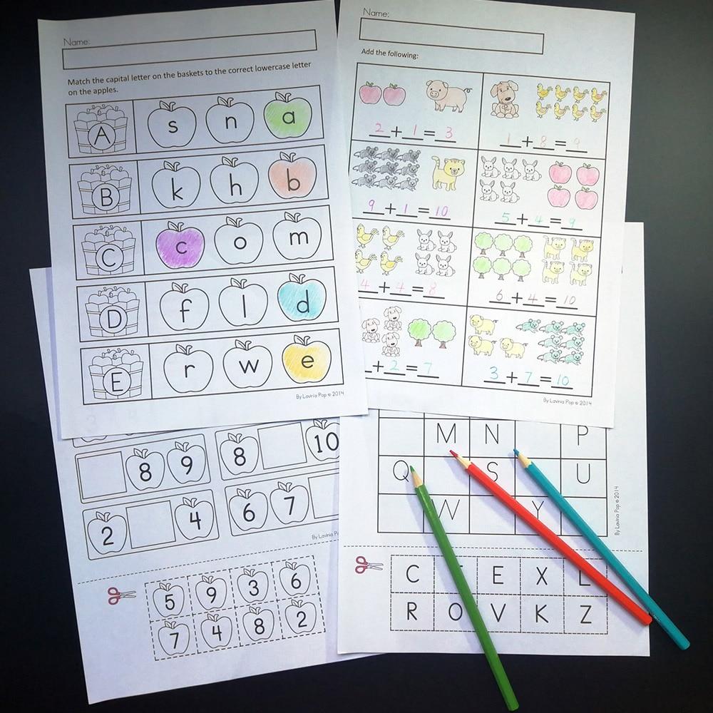 US $14 95 15% OFF|92Pcs Farm Theme Fun Kindergarten English Practice Book  Alphabet Reading Digital Shape Training Workbook Kids Education Toys on