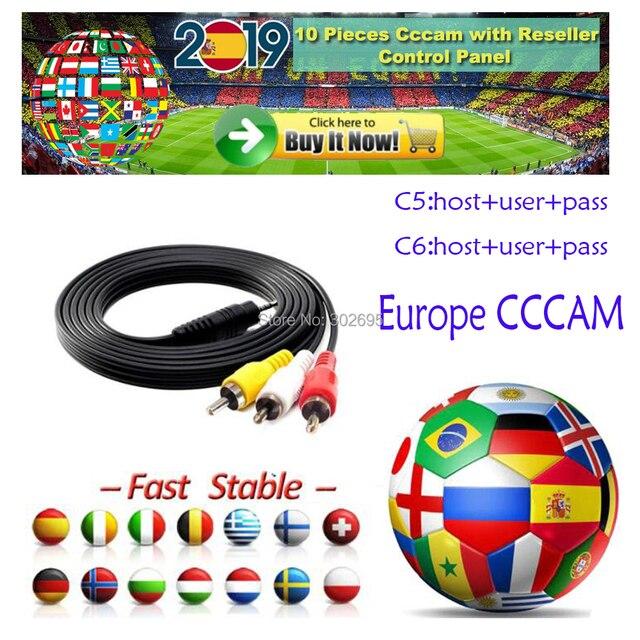 Cccam 6 7 8 linhas Full HD 1 Ano IPTV Cccam cline para Europa 6 linhas Uso para TV Por Satélite receptor DVB-S2 Servidor hd
