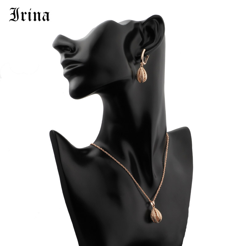 Irina Women's Jewelry Set Droplet Oval Openwork Long Necklace Earrings Set Fashion Hot Sale Wedding Accessories Party new 2019