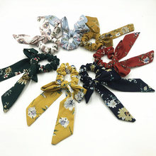 1pcs Hot Sale Cotton Bow Scrunchies Flower Stripe Print Hair Girls Headwear Ladies Elastic Band Accessories