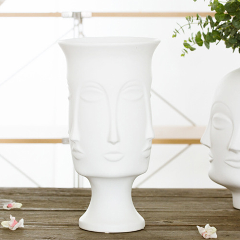Image 2 - Nordic Minimalism Abstract Ceramic Vase Face Art Matte Glazed Decorative Head Shape Vase White Ceramic-in Flower Pots & Planters from Home & Garden