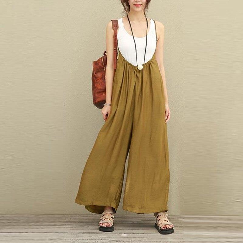 2019 Women Overalls Casual Cotton Linen Plus Size S-5XL Dungarees   Wide     Leg     Pants   Rompers Strap Long Trousers