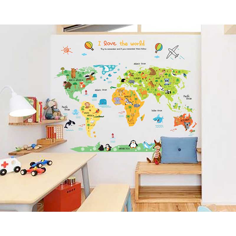 Cartoon Safari Animals World Map Nursery Wall Stickers for Kids Room Decoration Letters Global Maps WXV Sale in Wall Stickers from Home Garden