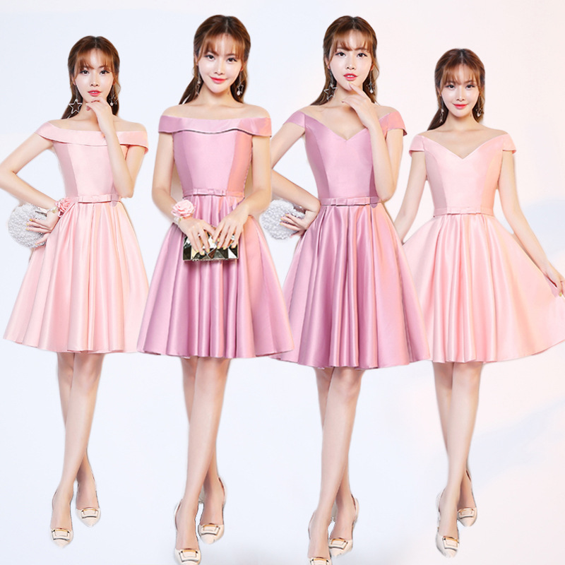 Robes de demoiselle d'honneur Satin poudre nue pas cher bretelles dos femmes élégantes robes de sœurs de fête de mariage Mingli Tengda robe marine Sexy