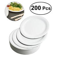 200pcs 8 Inch Disposable Eco Friendly Plates Dishes Tableware For Sharing Cake Dessert Gathering Picnic Birthday Party