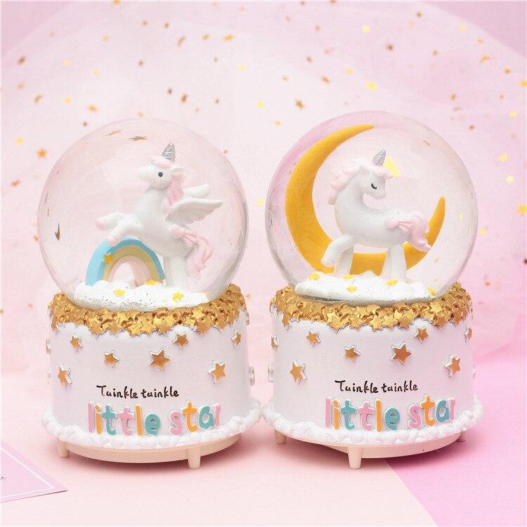 Créatif lune licorne cerf cheval boule de cristal boîte à musique automatique neige éclairage noël carrousel décoration de la maison accessoires