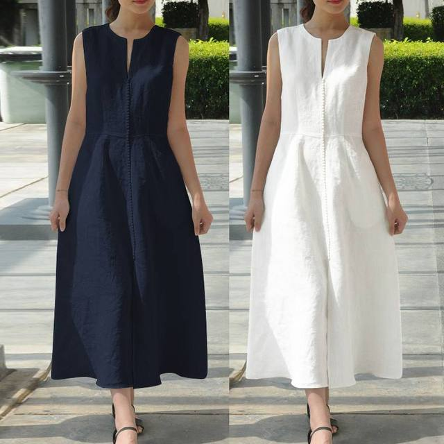 5d4c975b96808 US $14.9 40% OFF Celmia S 5XL Vintage Women Maxi Long Dress 2019 Summer  Sexy V Neck Sleeveless Shirt Dress Belted Loose Party Vestidos Ocersized-in  ...