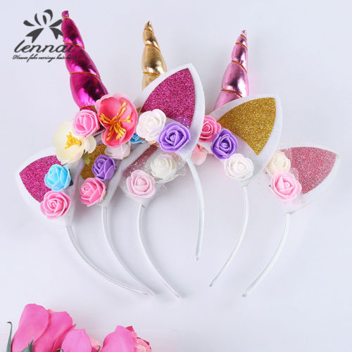 Hirgin Kids Girl Baby Unicorn Horn Headband Hair Band Accessories Headwear Head Wrap prozrachnyye platya