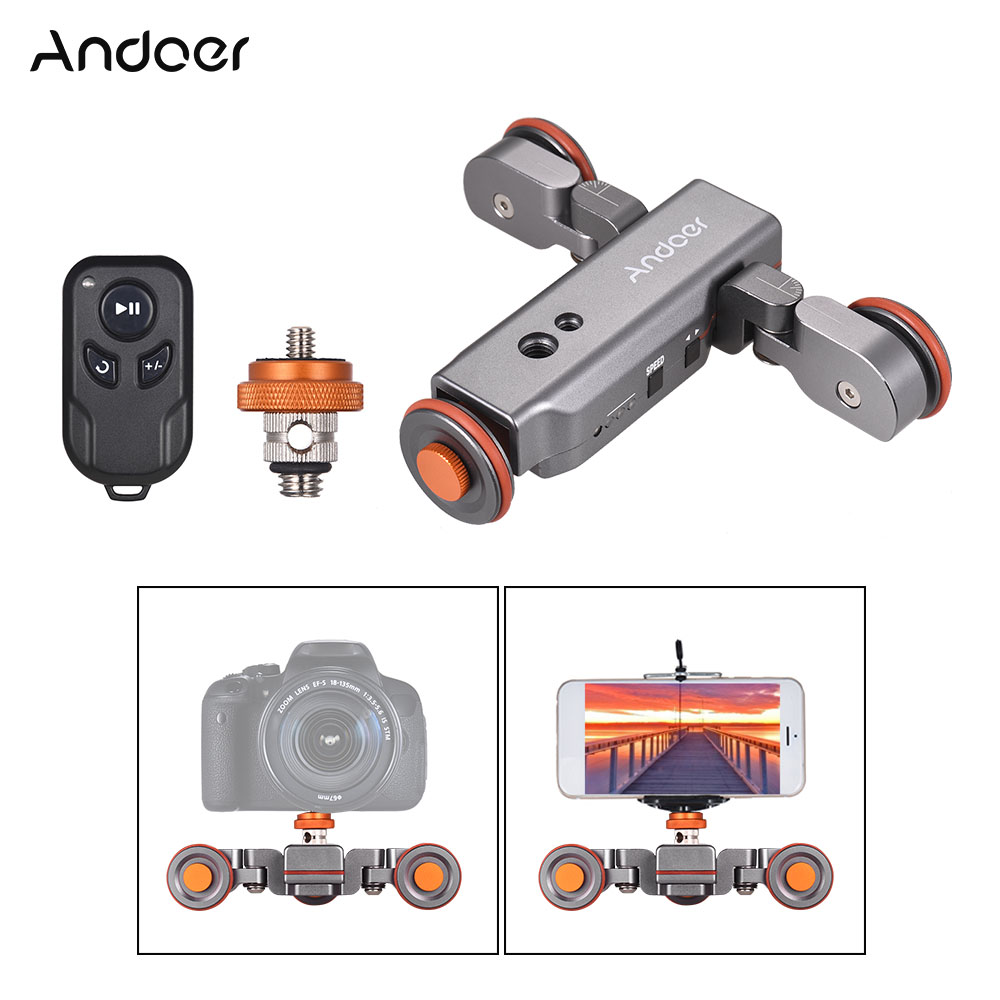Andoer Motorized Camera Video Dolly Wireless Remote Control Adjustable 1800mAh Rechargeable Battery for DSLR Camera Smartphone