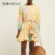 TWOTWINSTYLE Casual Hit Color Women Dress O Neck Long Sleeve Bandgaes Mini Dresses Female Fashion 2019 Spring New