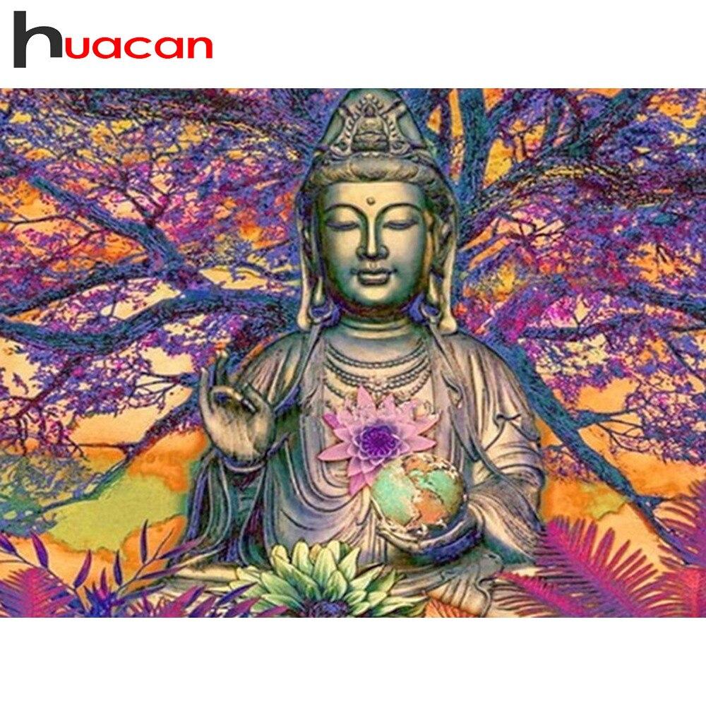 Huacan 5D DIY Diamond Painting Buddha Paintings Of Rhinestones Diamond Mosaic Square Full Religion Icon Diamond Embroidery Sale in Diamond Painting Cross Stitch from Home Garden